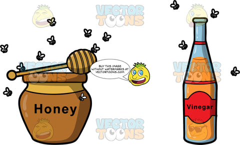 You Can Catch More Flies With Honey Than With Vinegar. A pot of honey surrounded by many flies next to a bottle of vinegar with only a few flies around it