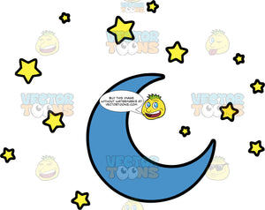 Once In A Blue Moon. A crescent shaped blue moon surrounded by yellow stars