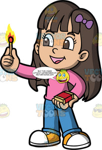 Playing With Fire. A girl with long brown hair, wearing blue pants, a long sleeve pink shirt, and yellow and white sneakers, holding a box of matches in one hand and a lit match in the other