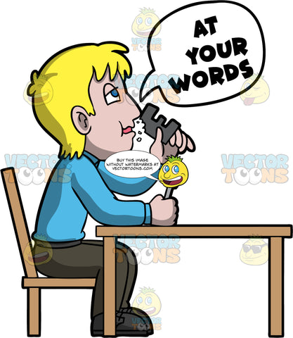 Eat Your Words. A blond man wearing brown pants, a blue shirt, and brown shoes, sitting at a table chewing on the letter E in his hand, and holding a fork in the other hand