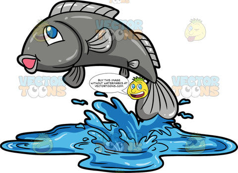 A Fish Out Of Water. A silver fish jumping out of a water