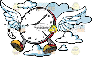 Time Flies When You're Having Fun. A clock with wings and legs, flying through the air