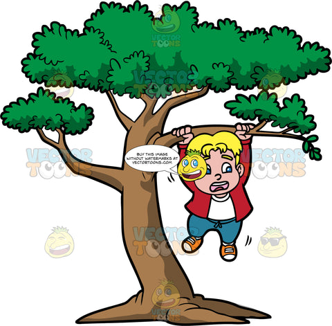 Hang In There. A blonde boy wearing blue pants, a red shirt over a white t-shirt, and orange sneakers, looking scared as he holds onto a tree branch with both hands