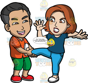 Pull Someone's Leg. A man wearing green shorts, an orange shirt, and red shoes, laughing while pulling on the leg of an angry woman wearing blue pants, a blue shirt, and white shoes