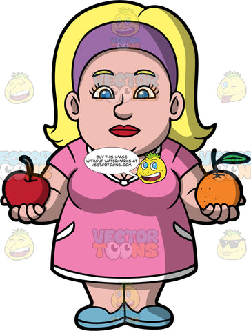 Comparing Apples To Oranges. A chubby blonde woman wearing a pink dress, a purple headband, and blue shoes, holding a red apple in one hand, and an orange in the other hand