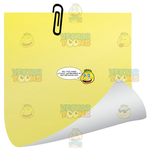 Yellow Blank Post-It Square Note Paper With Black Paper Clip, Right Corner Rolled Up