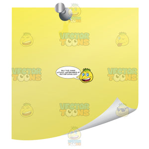 Yellow Blank Post-It Square Note Paper With Silver Thumb Tack Pin, Curled Right Corner