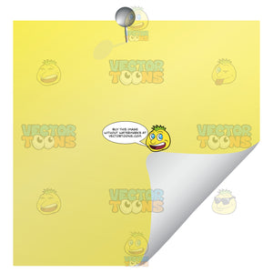 Yellow Blank Post-It Square Note Paper With Silver Pin And Folded Up Right Corner