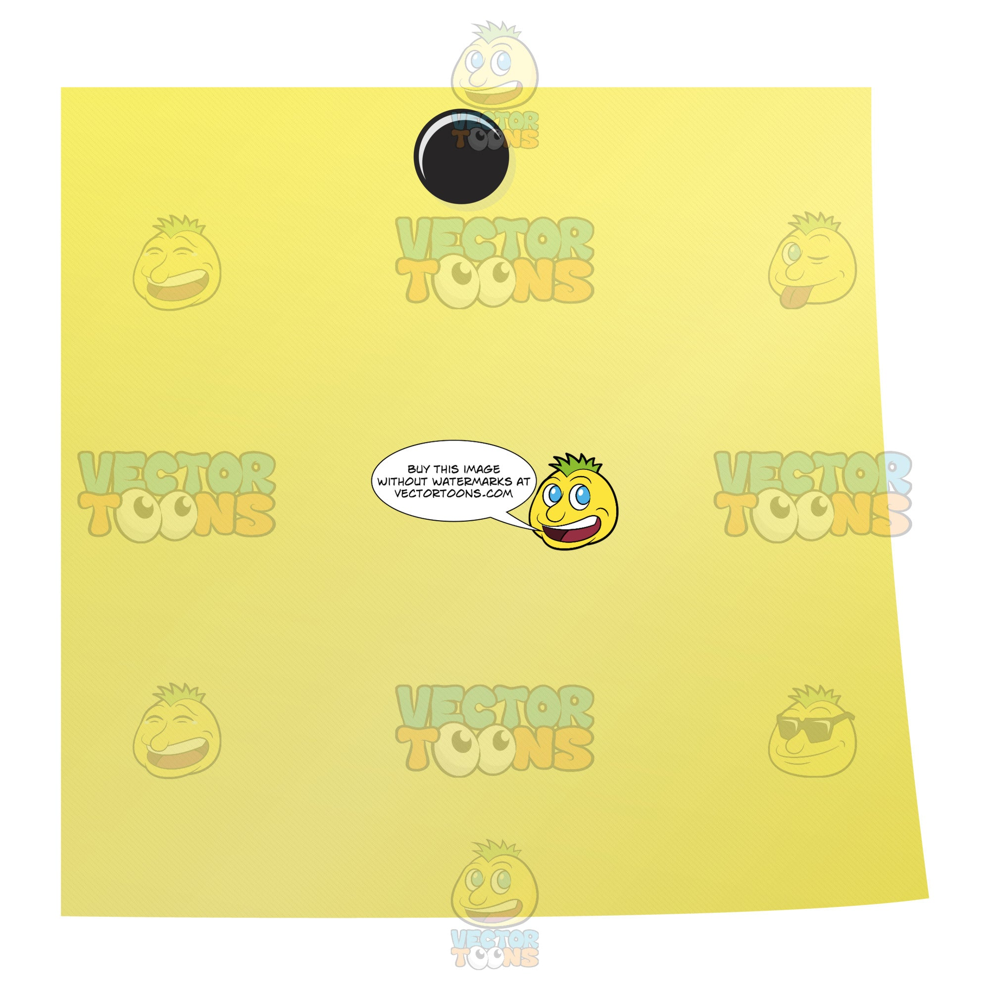Yellow Blank Post-It Square Note Paper With Black Thumb Tack In Center Top Flat,