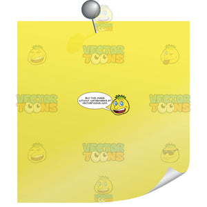 Yellow Blank Post-It Square Note Paper With Silver Pin And Slightly Curled Lower Right Corner