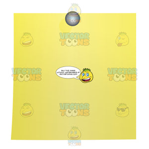 Yellow Blank Post-It Square Note Paper With Silver Tack In Top Center