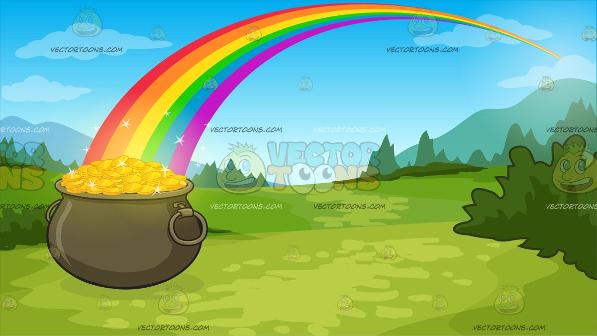 Pot Of Gold At The End Of The Rainbow Background