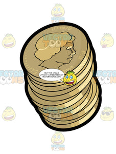 Stack Of Gold British Pound Coins