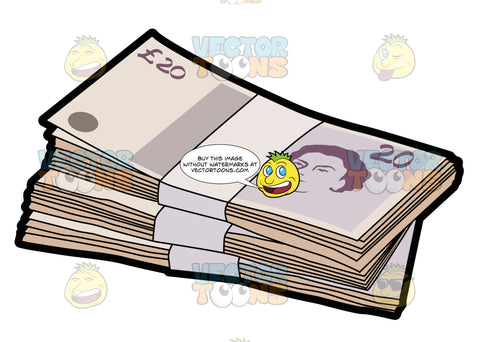 Three Bundles Of Twenty Pounds Bank Note Denomination