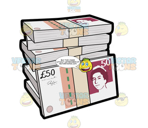 A Stack Of Fifty British Pound Bundles