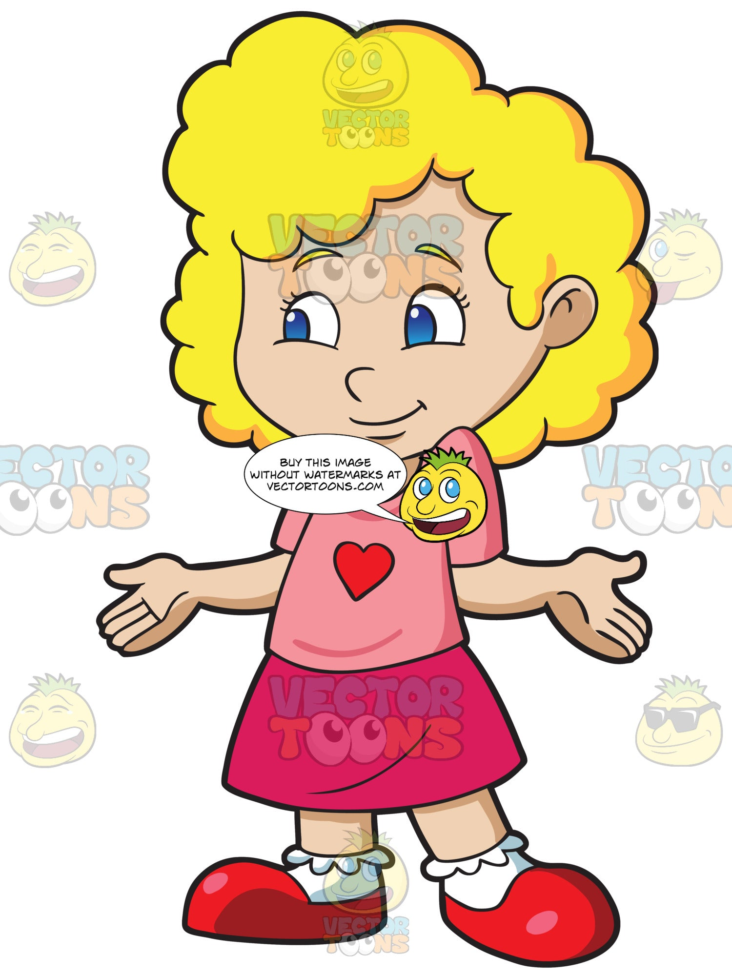 A Bashful Preschool Girl With Curly Hair Clipart Cartoons By Vectortoons