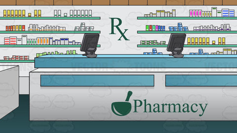 Prescription Counter Inside A Pharmacy Background