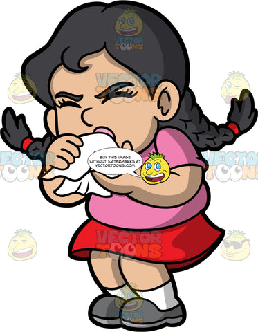 A Little Girl Coughing Into A Tissue. A girl wearing a red skirt, a pink shirt, and gray shoes, holding a tissue in front of her face and coughing into it