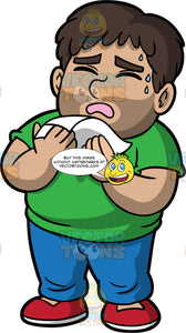 A Man About To Sneeze Into A Tissue. A chubby man wearing blue pants, a green t-shirt, and red shoes, holding a tissue in front of his face as he prepares to sneeze into it
