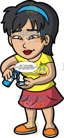A Woman Using Hand Sanitizer. An Asian woman wearing a red skirt, a yellow t-shirt, and orange shoes, squirting hand sanitizer into her hand