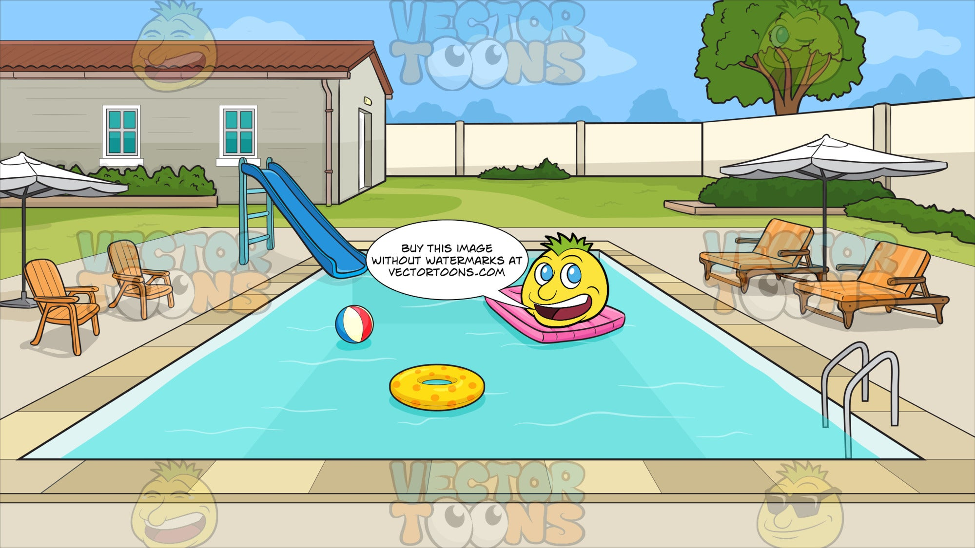 Private Backyard Swimming Pool Background. A rectangular swimming pool filled with aqua blue water, with floaters on it, as well as a blue slide, orange loungers, seats, white umbrellas beside it, at the back of a house with grayish beige walls, brown roofing, teal windows, in front of a grassy domestic property bordered by off white walls