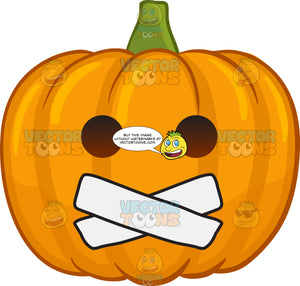 A Halloween Pumpkin With Taped Mouth