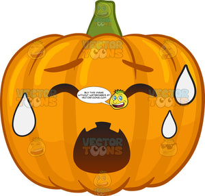A Halloween Pumpkin Sweating In Pain