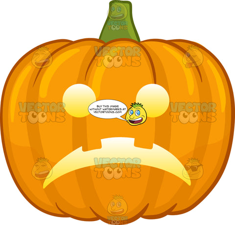 A Sad Illuminated Halloween Pumpkin