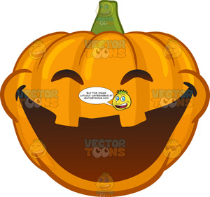 A Halloween Pumpkin Grinning In Delight