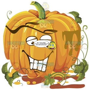 Happy Content Smiling Pumpkin Face With Green Vines