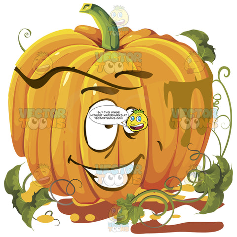 Cheerful Orange Pumpkin Face With Green Vines