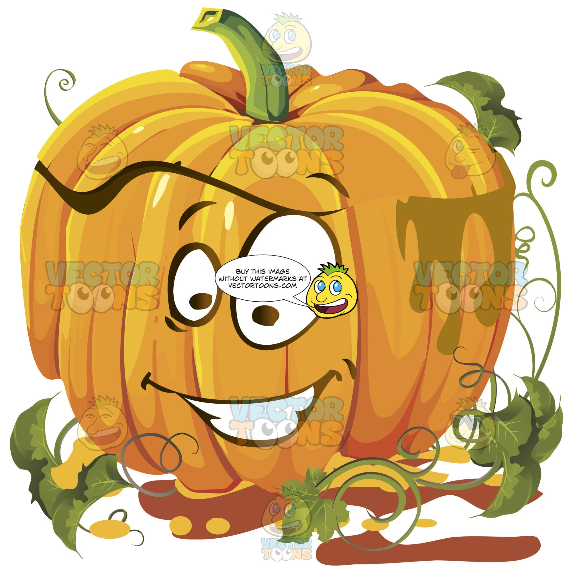 Joyful Orange Pumpkin Face With Green Vines, One Eye Bigger Than Other