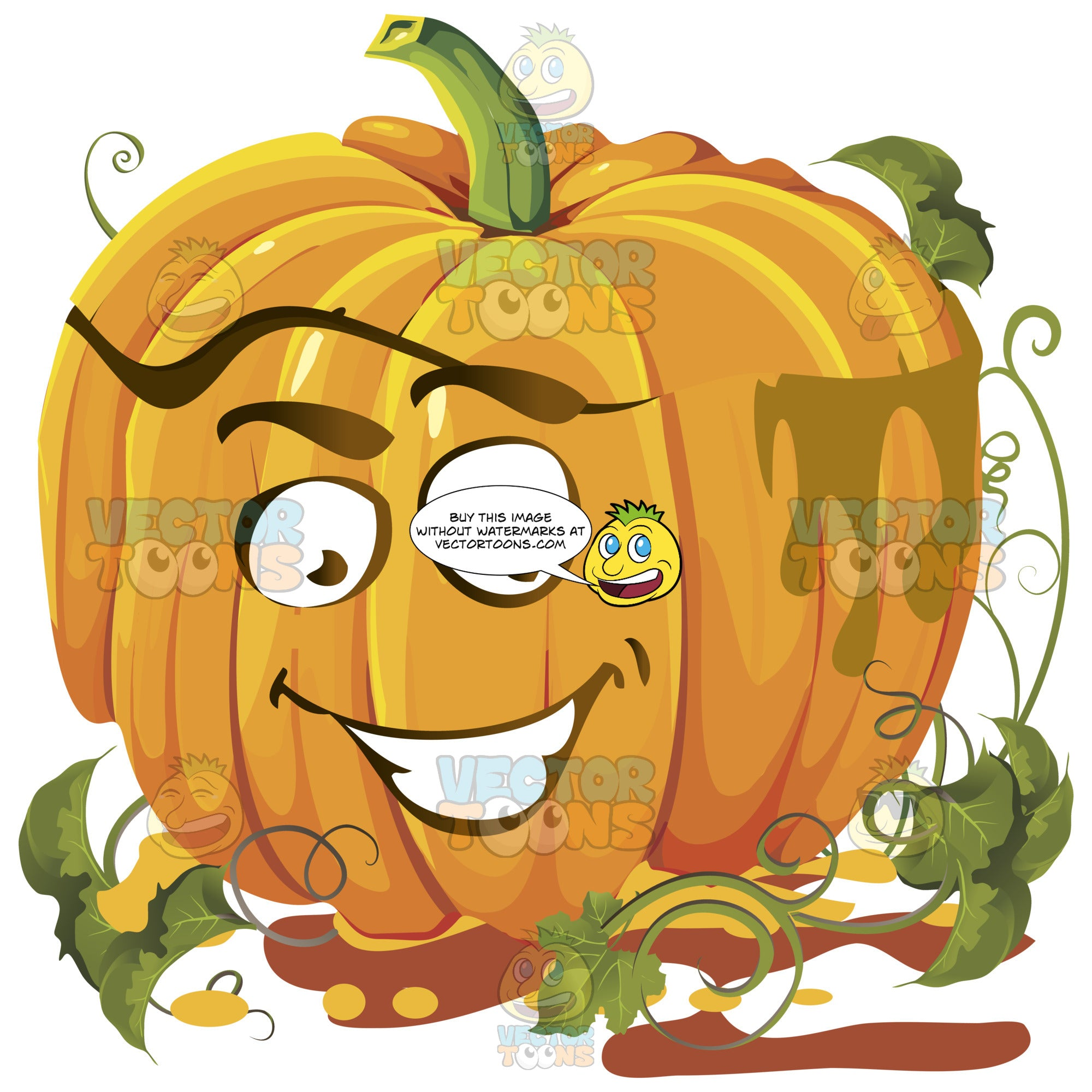 Ecstatic Smiling Orange Pumpkin Face With Green Vines