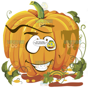Happy Orange Pumpkin Face With Green Vines