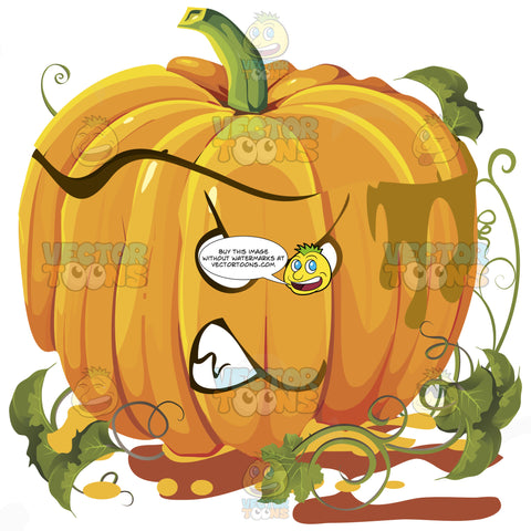 Angry Mad Orange Pumpkin Face With Green Vines