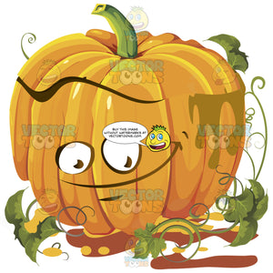 Goofy Innocent Simple Orange Pumpkin Face With Green Vines