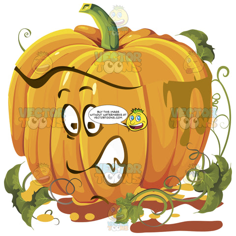 Nervous Scared Orange Pumpkin Face With Green Vines