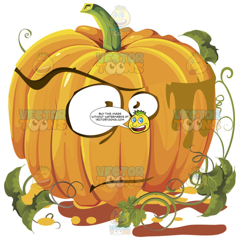 Dumbfounded Speechless Orange Pumpkin Face With Green Vines