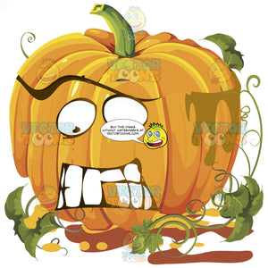 Frightened Orange Pumpkin Face With Green Vines