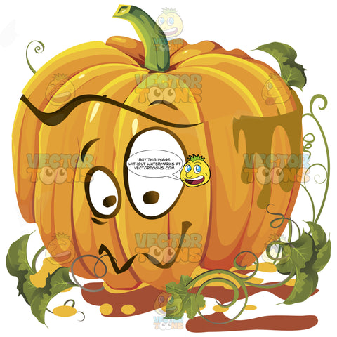 Aww, Cure Expression Orange Pumpkin Face With Green Vines