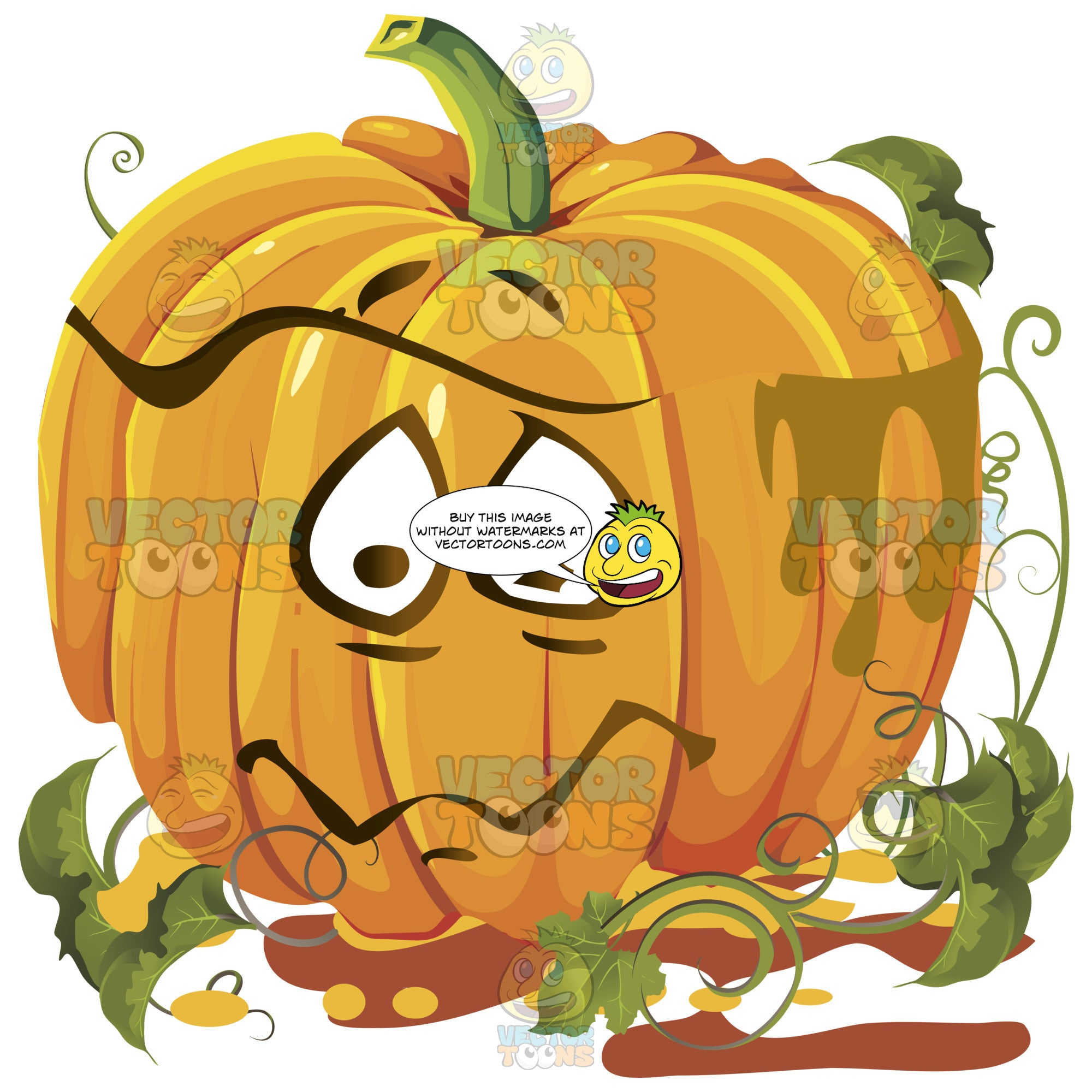 Sad, Tearful Orange Pumpkin Face With Green Vines