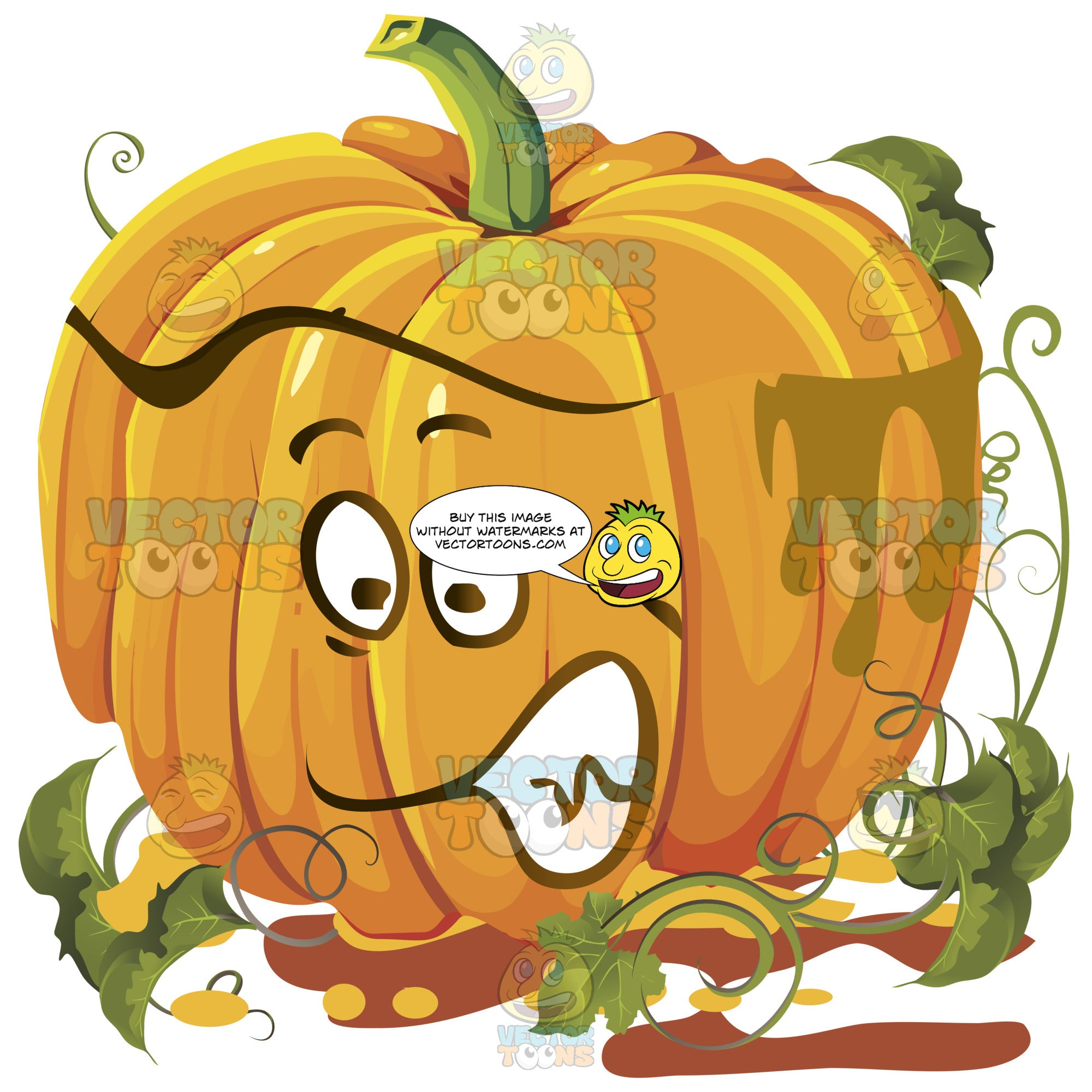 Orange Pumpkin Face With Green Vines Gritting Teeth, Determined