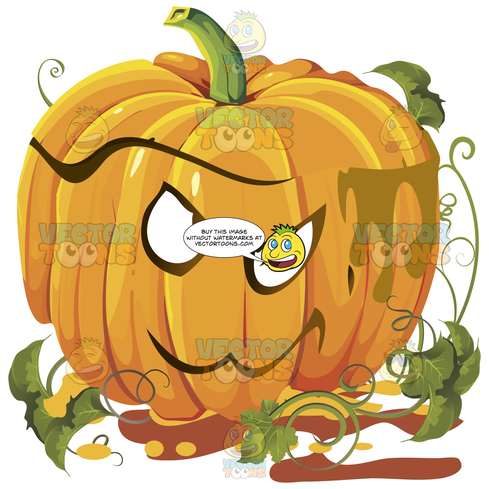 Mad Orange Pumpkin Face With Green Vines