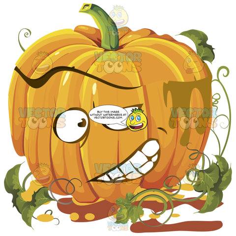Orange Pumpkin Face With Green Vines With Face Of Concentration