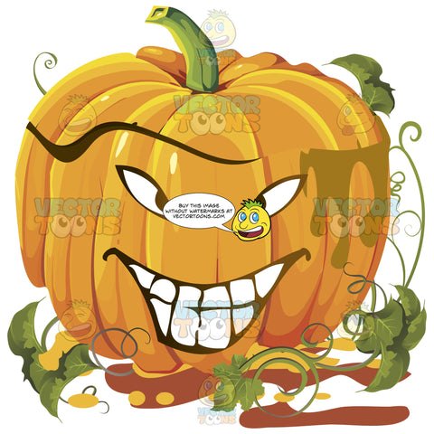 Squinty-Eyed Grinning Orange Pumpkin Face With Green Vines