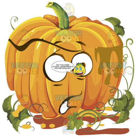 Startled Worried Orange Pumpkin Face With Green Vines