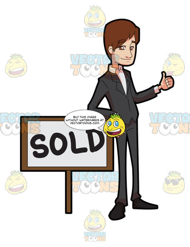 A Male Real Estate Broker Closing A Sale Deal Of A Property