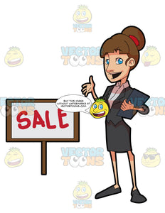 A Female Realtor Showing A Property For Sale