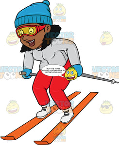 A Black Woman Having Fun While Skiing