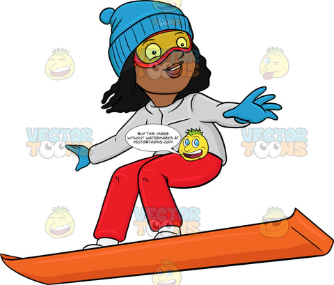 A Black Woman Basking In Merriment While Snowboarding